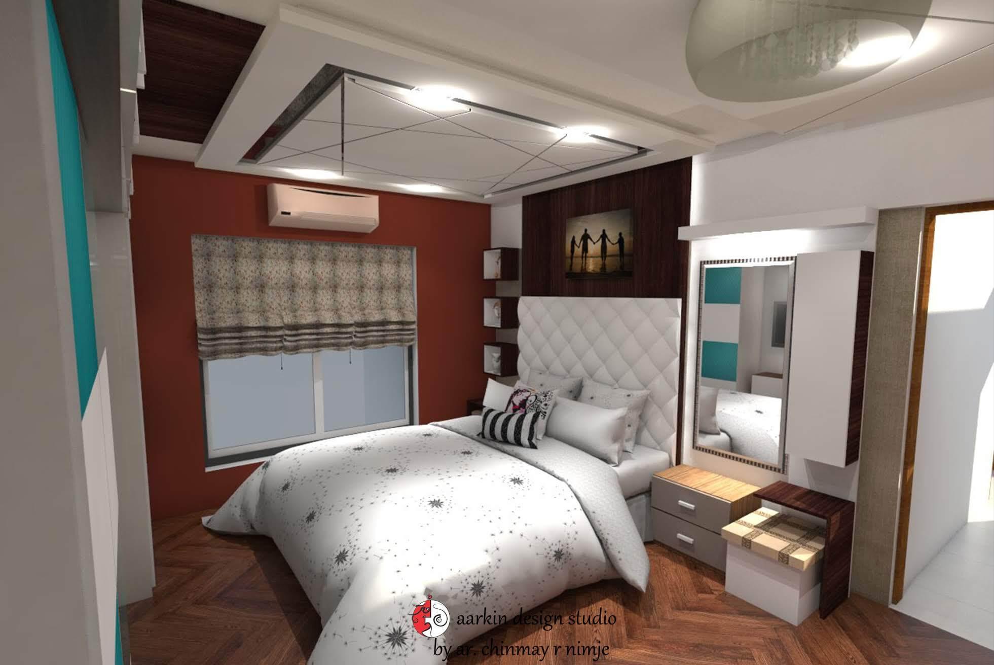 master bedroom design showing bed bed back and laminate flooring