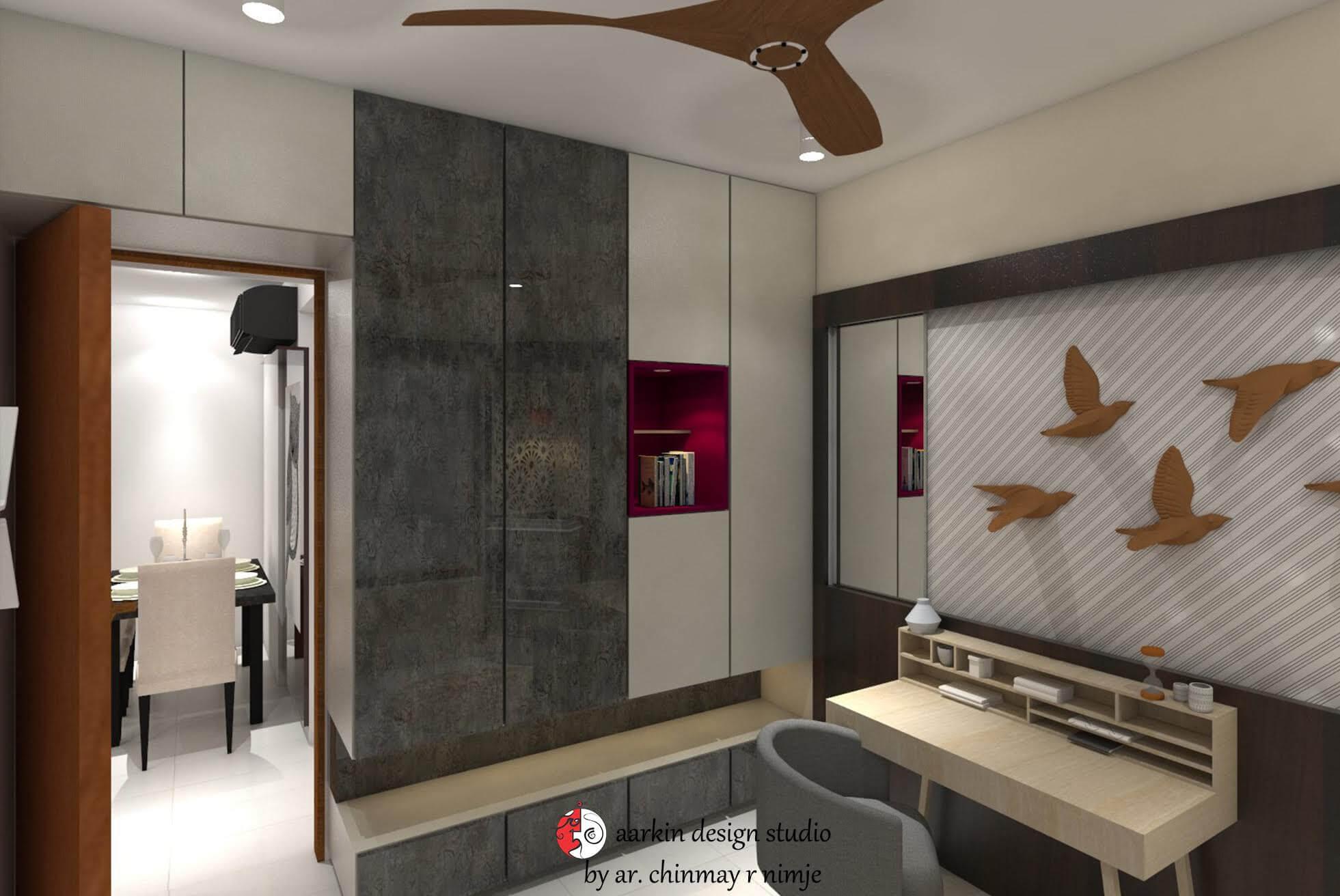 wall hung wardrobe with wall art