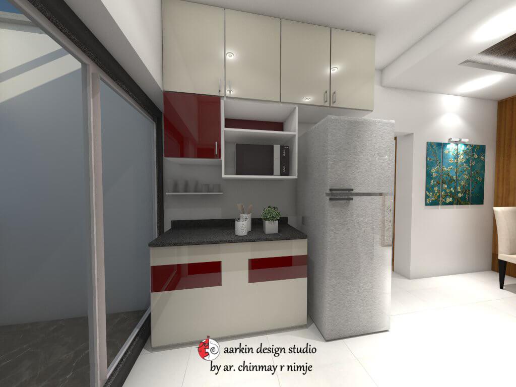 kitchen service platform with overhead storage