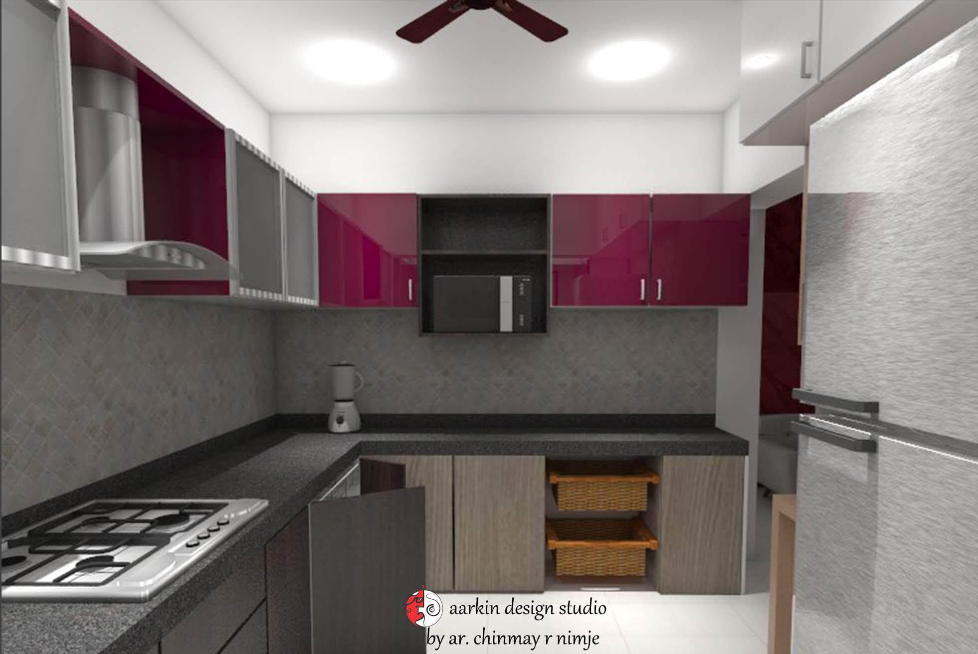 kitchen interior design with overhead cabinate and bottom storage arrangement
