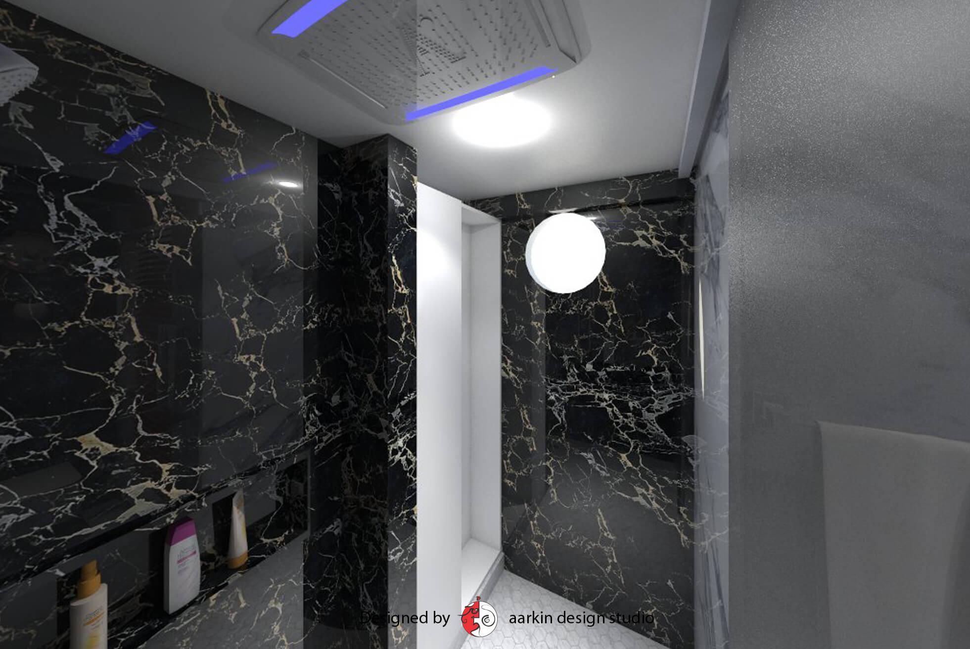 jaquar rain shower bathroom black and white marble