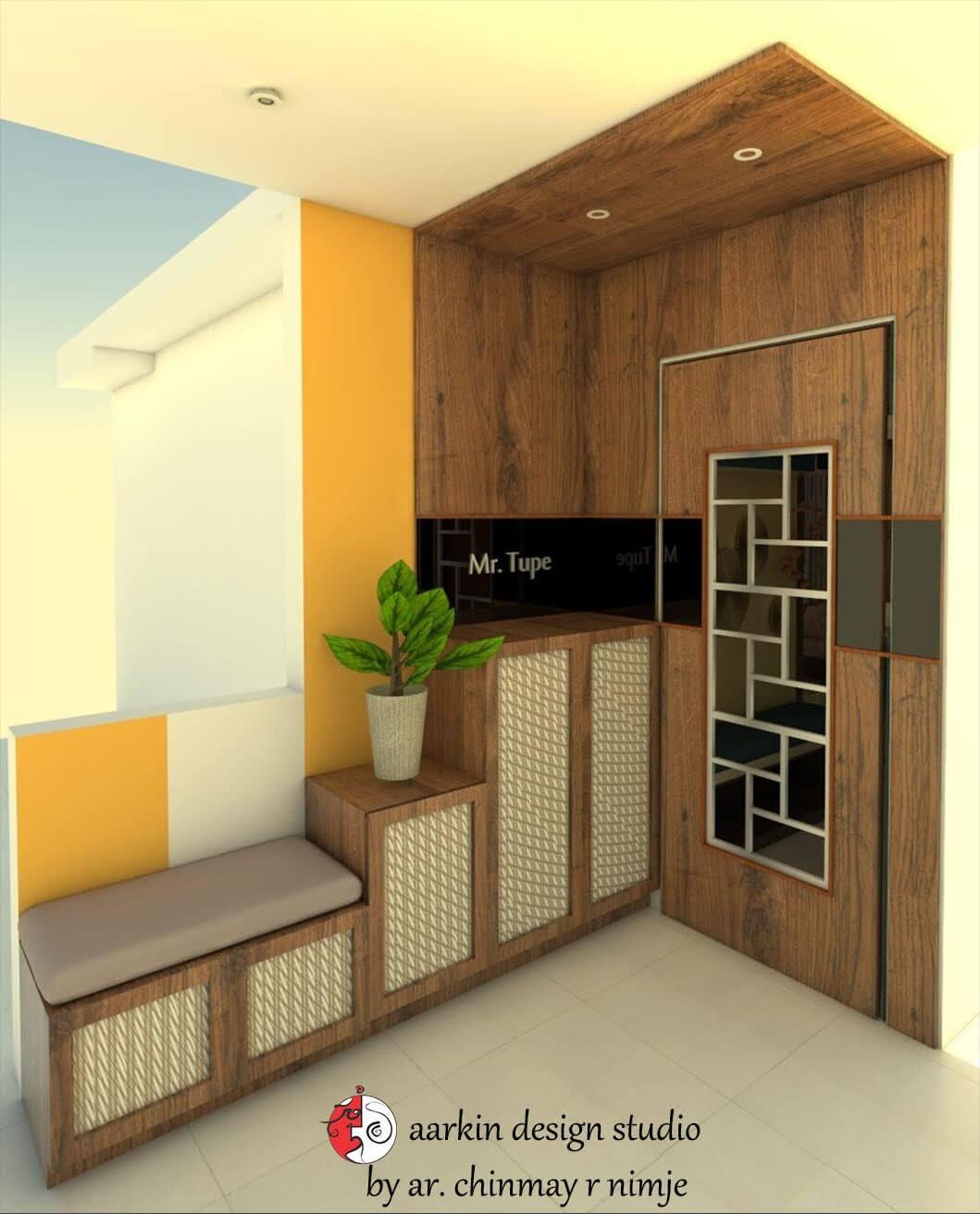 main door design with shoe rack