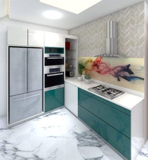 modular kitchen with in-built fridge