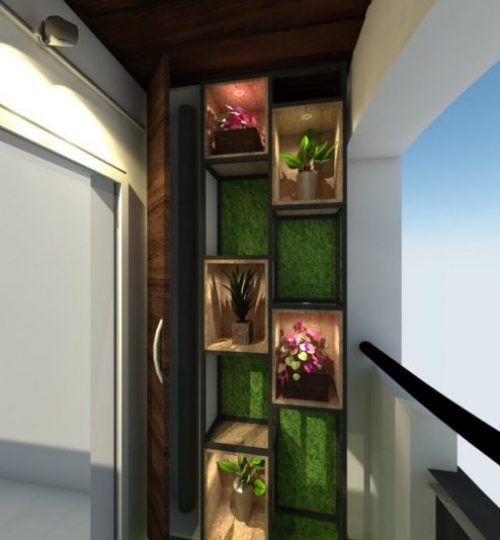 balcony with vertical garden stand and floor grass