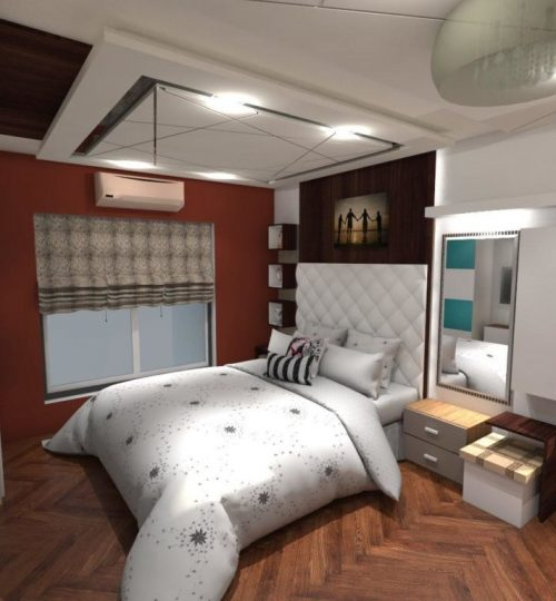 bedroom with laminate flooring bed with cushion bed back and side table dresser with modern false ceiling