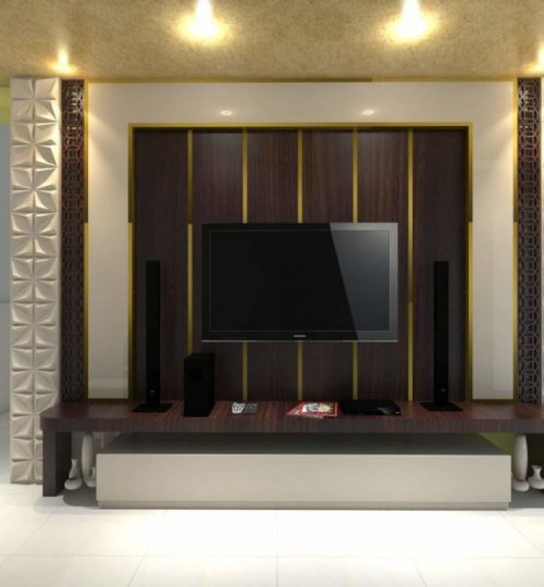 tv unit with 3d panel