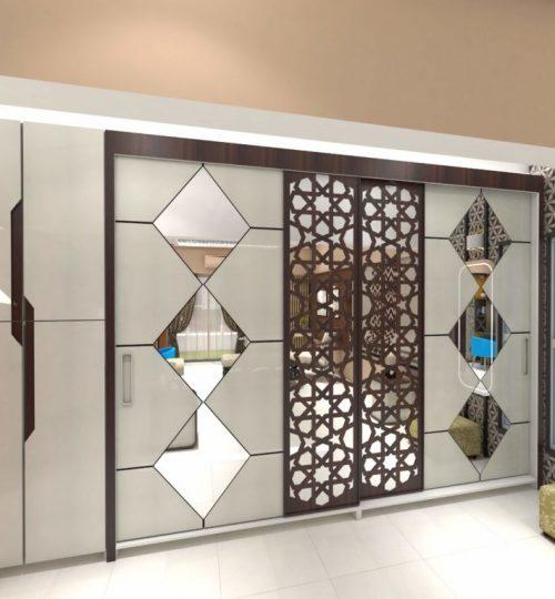 sliding wardrobe with mirror inlay work