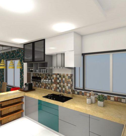 yellow quartz kitchen platform and bottom storage and wicker baskets