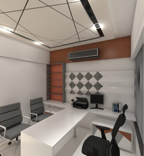 home office cabin with chair and ceiling false ceiling