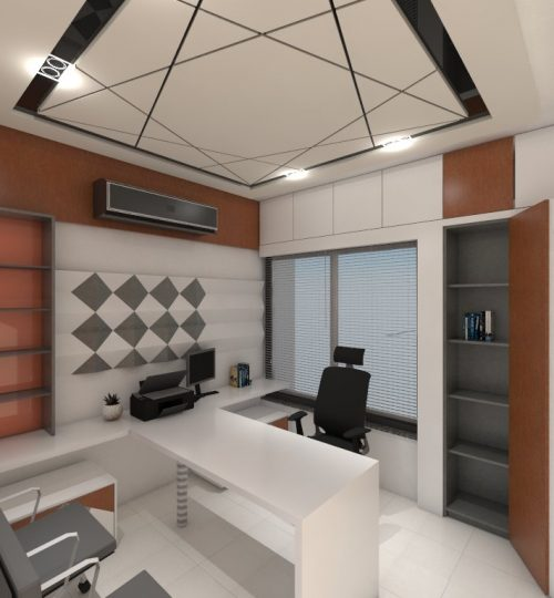 home office cain with chair and ceiling false ceiling