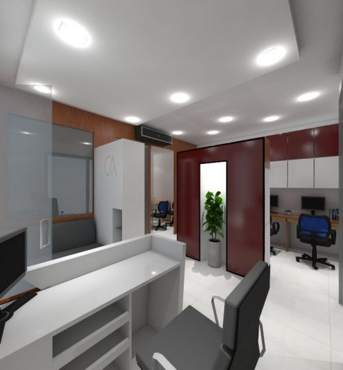 office with reception table and office chair