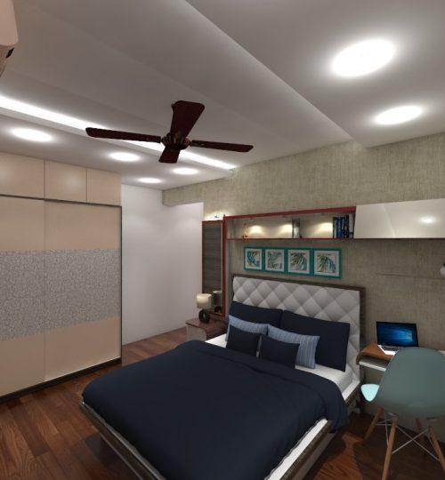 bedroom interior with wooden flooring wardrobe small study wallpaper