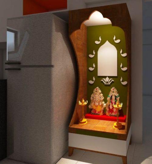 mid size mandir with storage god